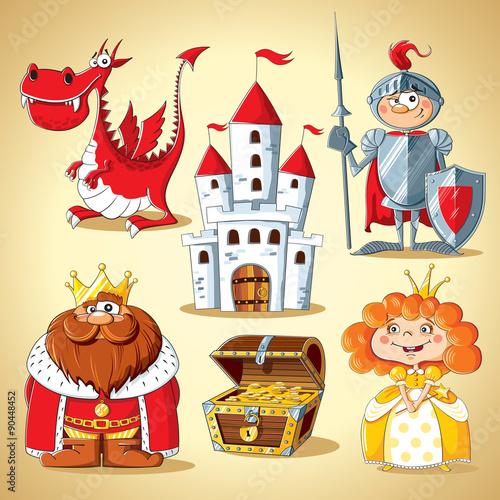 Plakat Zestaw postaci z bajek