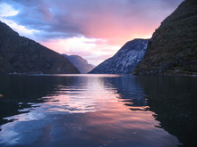 Norway Fjords At Sunset Mirror