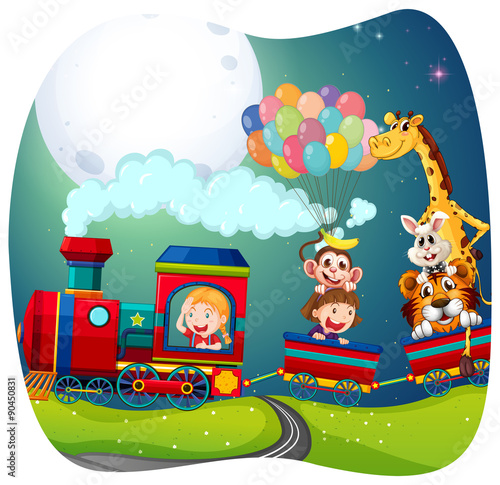 Poster Castle Girls and animals on train