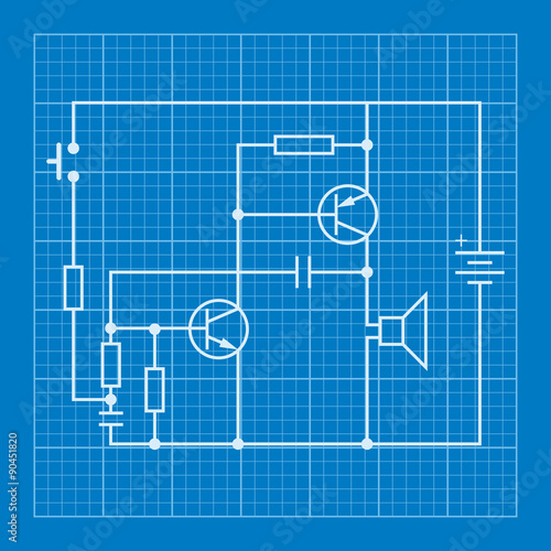 electronic circuit scheme blueprint background - Buy this stock ...