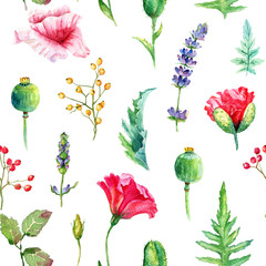 FototapetaSeamless pattern of watercolor poppies. Illustration of flowers. Vintage. Can be used for gift wrapping paper.