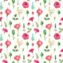 Fototapeta Róże Seamless pattern of watercolor roses. Illustration of flowers. Vintage. Can be used for gift wrapping paper.