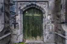 Old Castle Ruins Door Background