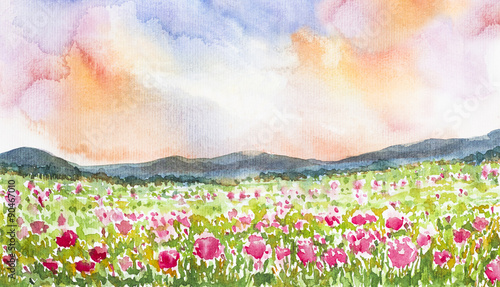 pink flower field landscape watercolor painted - 90467010