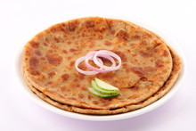 Potato And Spices Stuffed Panjabi Indian Bread Aloo Paratha