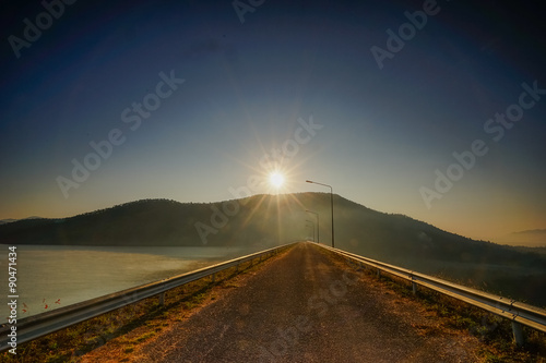Fototapety, obrazy: Road on the ridge of a dam