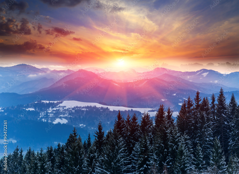 Fotografia, Obraz  sunset in winter mountains