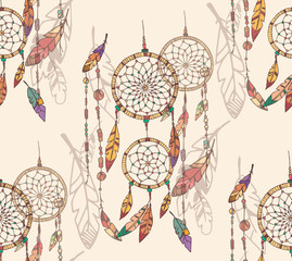 Fototapeta Boho Bohemian dream catcher with beads and feathers, seamless pattern