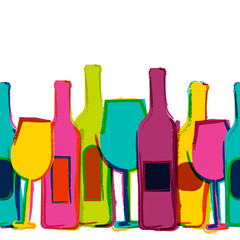 Panel Szklany Do winiarni Vector watercolor seamless background, colorful wine bottles and