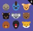Flat Animal Faces Icon Cartoon Vector Set 6 (Australia)