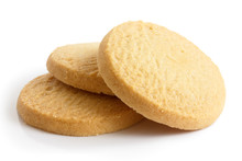 Three Round Shortbread Biscuits Isolated On White.