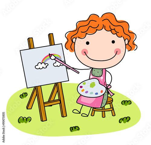 Foto op Canvas Honden Cute Little Girl Artist
