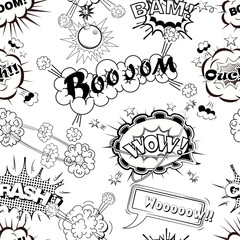 Tapeta Seamless pattern comic speech bubbles sound effects, cloud explosion vector illustration