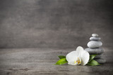 Fototapeta Storczyk - White orchid and spa stones on the grey background.