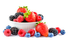 Big Pile Of Fresh Berries In B...