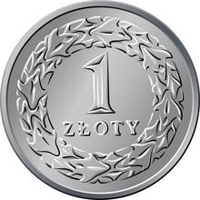 Reverse Polish Money One Zloty Coin
