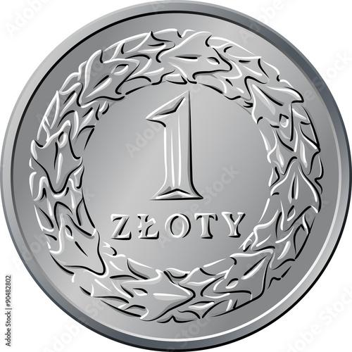 Fotografía reverse Polish Money one zloty coin