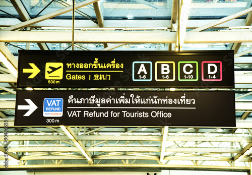 Airport signage in Thai Poster