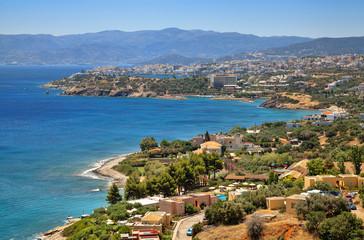 Agios Nikolaos and Cretan sea. Crete island, Greece.