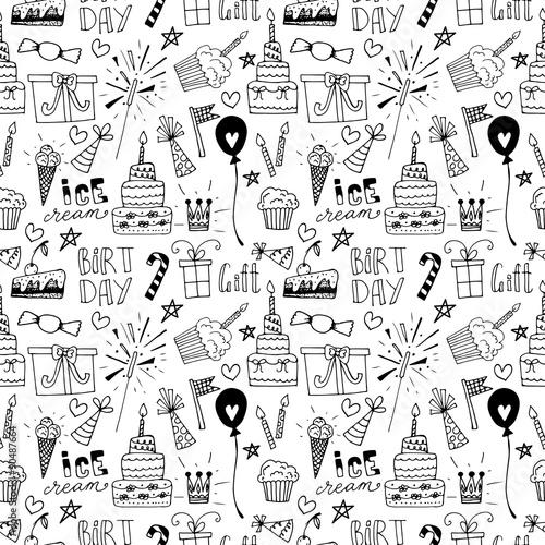 Fotografía  Doodle Birthday party background seamless pattern