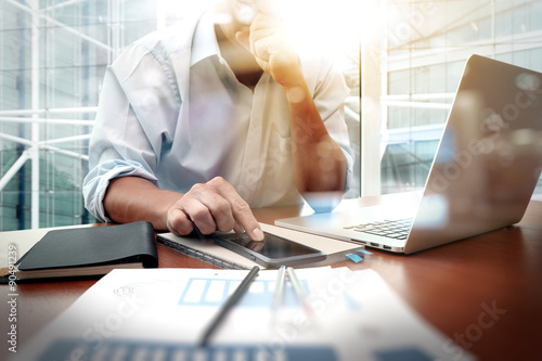Fotografie, Obraz  business documents on office table with smart phone and digital
