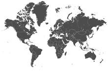 Welt Karte Grau Mit Länder Gr...