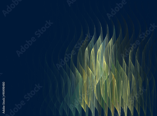 Poster Fractal waves abstract fractal wave pattern on dark blue background