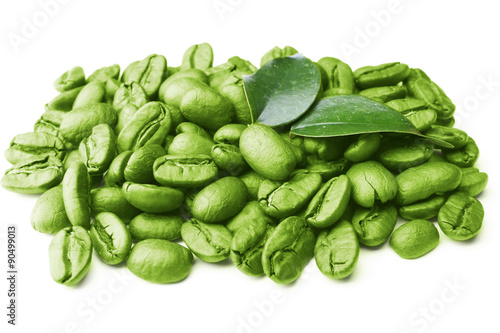 Keuken foto achterwand Koffiebonen Coffee beans with leaves isolated on white