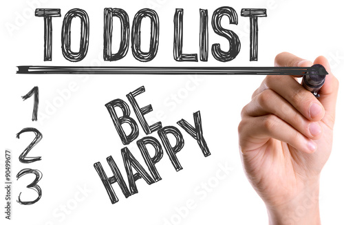 Photo  Hand with marker writing the word To Do List Be Happy