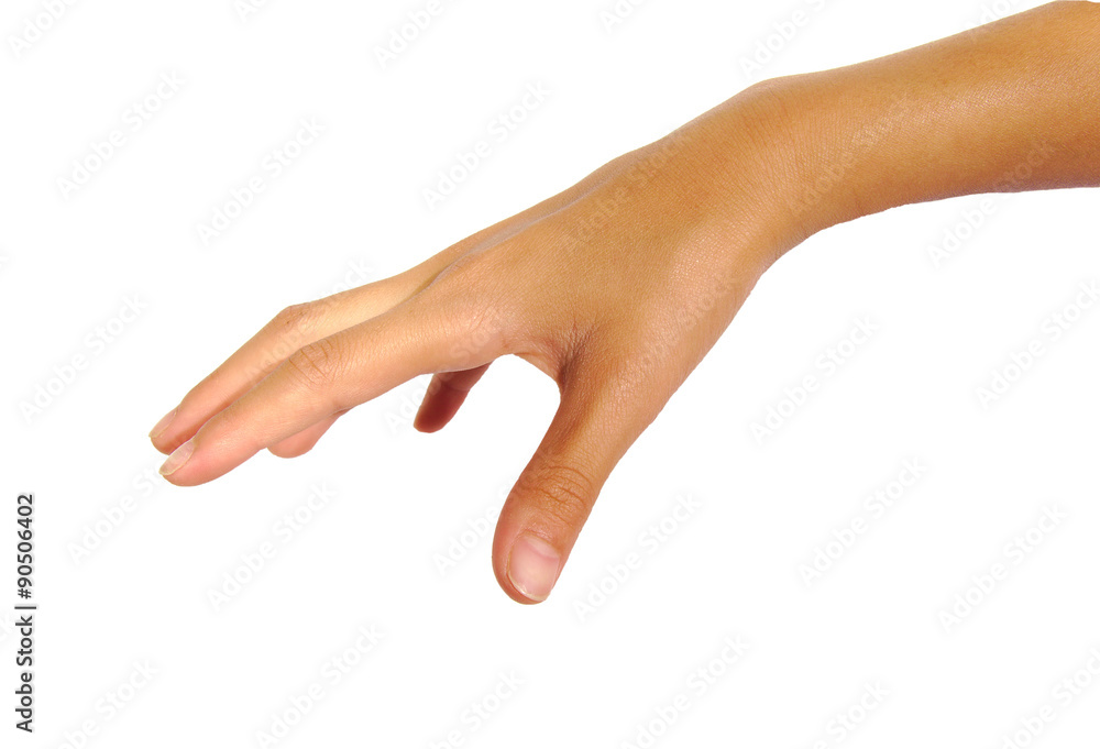 Fototapeta Female hand ready to take or catch something isolated on a white