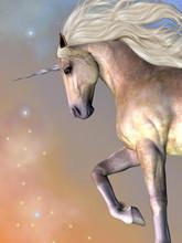 Dapple Buttermilk Unicorn - Cosmic Stars Surround The Beauty Of A Dapple Buttermilk Unicorn As He Prances Across The Universe.