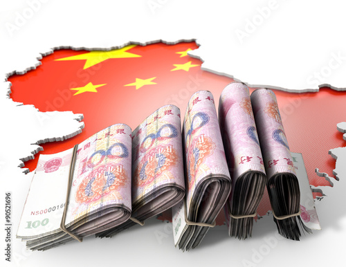 Staande foto Afrika Recessed Country Map And Cash China