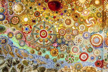 Panel Szklany Podświetlane Vintage Art mosaic glass on the wall