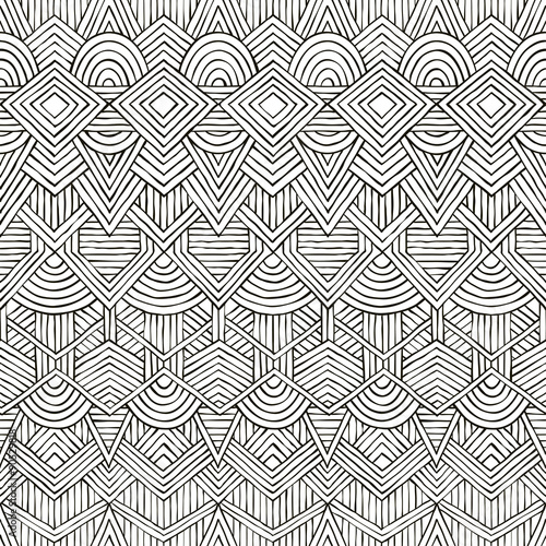 Photo  Vector seamless tribal pattern. Hand-drawn background.