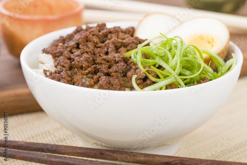 Lu Rou Fan (Taiwanese Braised Pork Rice Bowl) - Ground pork