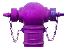Old Purple Fire Hydrant Isolated On White