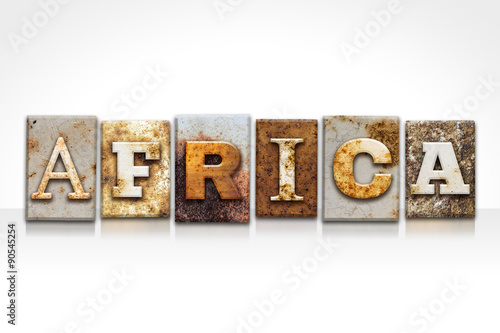 Staande foto Afrika Africa Letterpress Concept Isolated on White