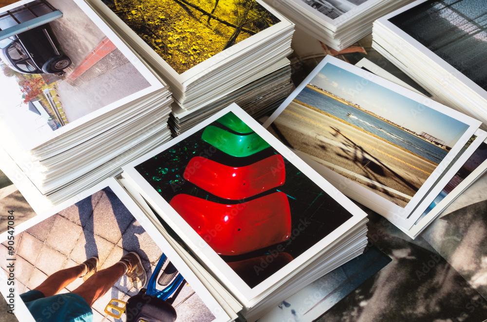 Fototapety, obrazy: 積み上げた写真プリント