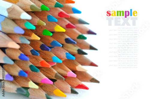 Obraz na plátně  Close-up of colour pencils on white background