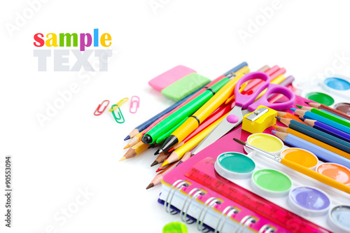 Fotografie, Obraz  Office and student accessories on a white. Back to school concep