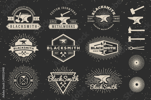 Billede på lærred Set of Modern Vintage Blacksmith and Metalworks insignia logotype Template Design with anvil, hammer, star burst