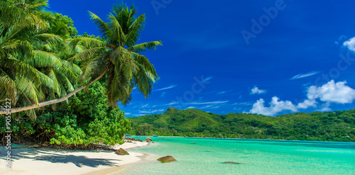 Poster Tropical plage Anse a La Mouche - Paradise beach in Seychelles, Mahe