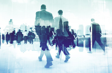 Abstract Image of Business People Walking on the Street Concept