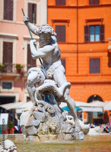 Keuken foto achterwand Noord Europa The Fountain of Neptune, at Piazza Navona. This fountain from 1576 depicts the god Neptune with his trident fight against an octopus and other mythological creatures