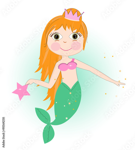 Photographie  Cute mermaid girl with stars vector background