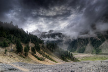 Storm Clouds Over Mountains Of Ladakh, Himalayan Mountains - Green Valley Sccenary, Jammu And Kashmir, India