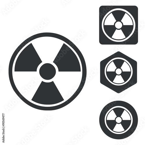 Photo  Radiohazard icon set, monochrome