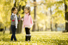 Two Little Girls At The Autumn...