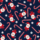 Seamless Christmas pattern with Santa Claus, stars and candy cane. Xmas background.