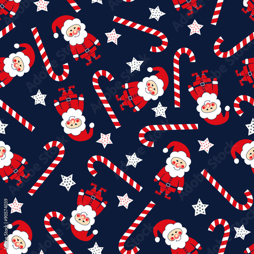 fototapeta na ścianę Seamless Christmas pattern with Santa Claus, stars and candy cane. Xmas background.